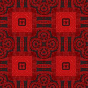 Red Squared Block Print