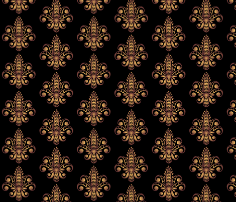 ©2011 fleur de lis - black fabric by glimmericks on Spoonflower - custom fabric