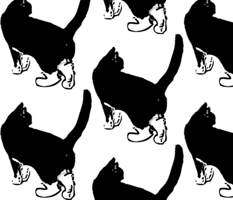 Black Cat fabric by dreamskyart on Spoonflower - custom fabric
