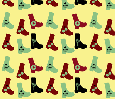 yellow boots fabric by violetheavensky on Spoonflower - custom fabric