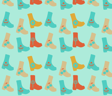 blue boots 2 fabric by violetheavensky on Spoonflower - custom fabric