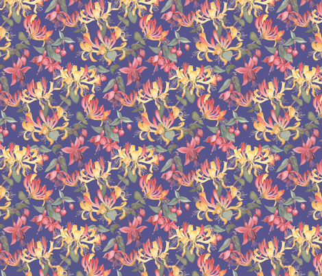 Fuschia & Honeysuckle - blue/purple background fabric by gail_mcneillie on Spoonflower - custom fabric