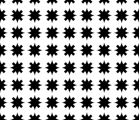 Unlinked Star Variant White on Black fabric by pond_ripple on Spoonflower - custom fabric