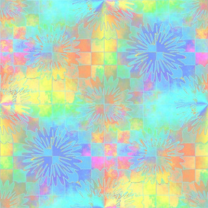 Pastel Checkerboard Starbursts18x18