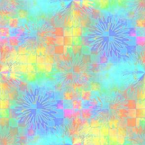 Pastel Checkerboard Starbursts18x18