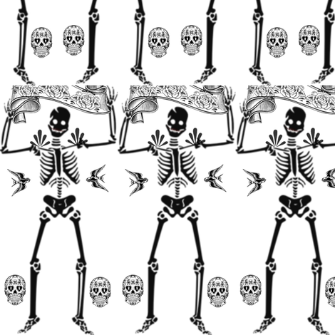 Day of the Dead - Dancing Skeleton fabric by dreamskyart on Spoonflower - custom fabric
