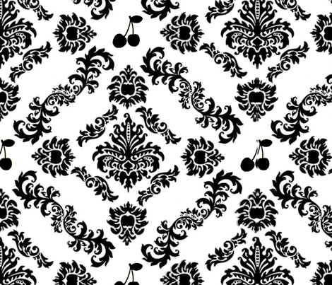 Cherry Damask Wallpaper (small) fabric by lowa84 on Spoonflower - custom fabric