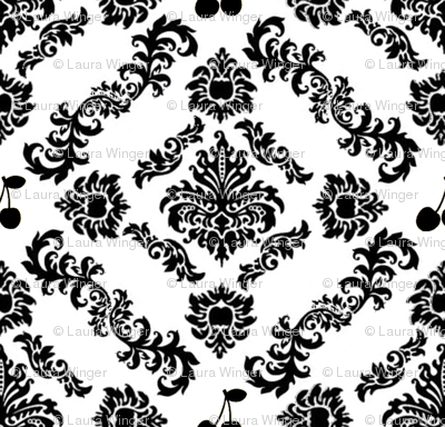 Cherry Damask Wallpaper (large)
