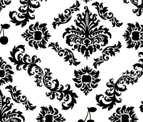 Cherry Damask Wallpaper (large) fabric by lowa84 on Spoonflower - custom fabric
