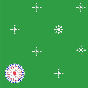 White Starflakes and Roundels on Green