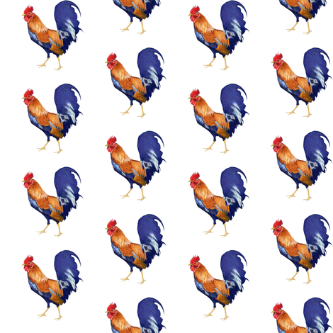 Rooster small on White fabric by floating_lemons on Spoonflower - custom fabric