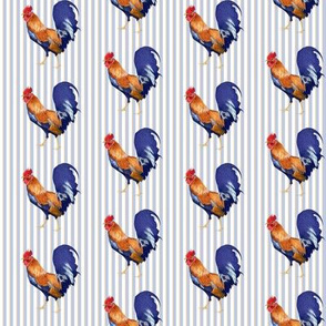 Rooster on Stripes