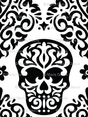 Skull Diamond Black on White