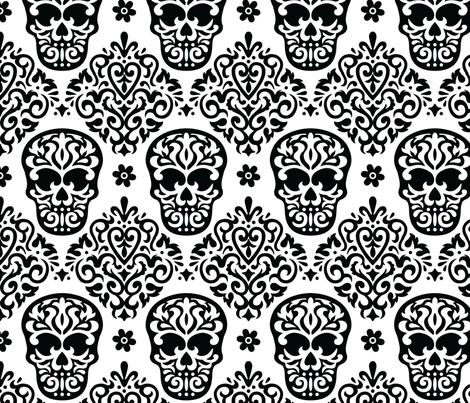 Skull Diamond Black on White fabric by mariafaithgarcia on Spoonflower - custom fabric