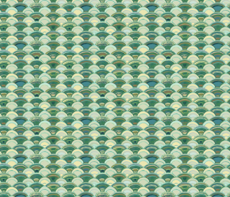 Scales in Ivory and Green, Small fabric by wren_leyland on Spoonflower - custom fabric
