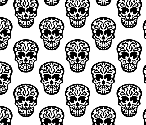 Skulls Black on White fabric by mariafaithgarcia on Spoonflower - custom fabric