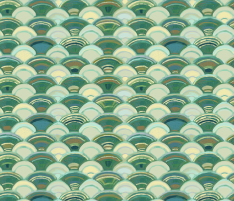 Scales in Ivory and Green (larger version) fabric by wren_leyland on Spoonflower - custom fabric