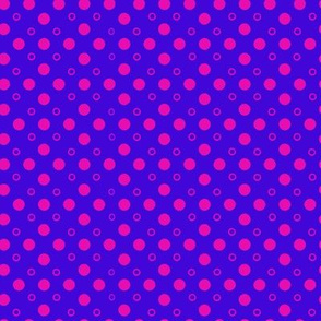 Pink Polka Dots on Periwinkle 8x8