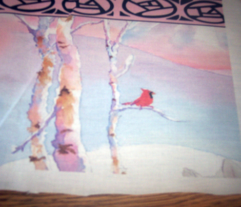 samoyed and cardinal winter scene border