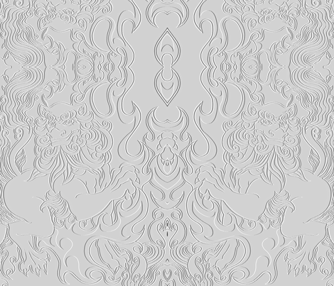 Flaming Foo Dog faux embossed fabric fabric by whimzwhirled on Spoonflower - custom fabric