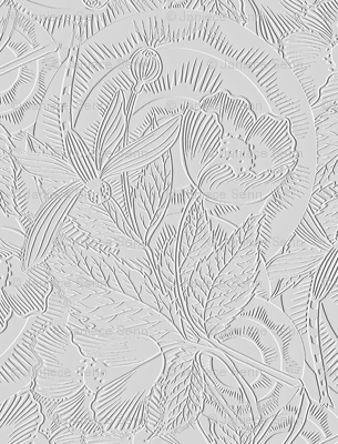 Faux embossed dragonfly fabric