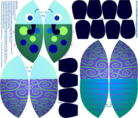 Blue Bed Bug - Transforming Toy fabric by shiro on Spoonflower - custom fabric