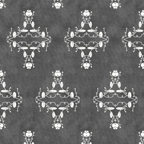 Gray and White Grunge Damask