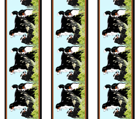 berners_in_the_grass_border_ fabric by dogdaze_ on Spoonflower - custom fabric