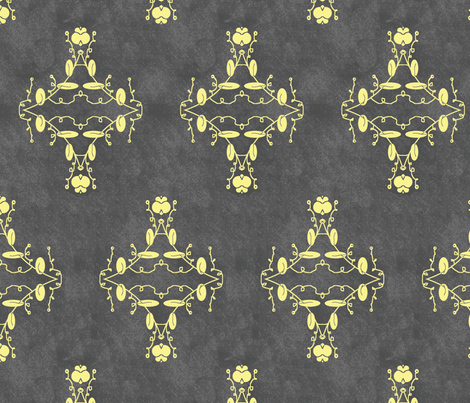 Gray and Yellow Grunge Damask fabric by captiveinflorida on Spoonflower - custom fabric