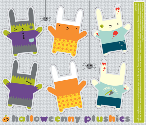 Halloweeny plushies fabric by amel24 on Spoonflower - custom fabric