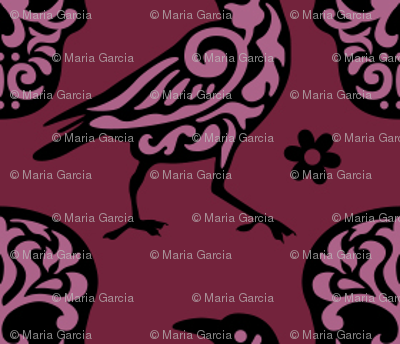Skull Raven Damask in Burgundy + Pink Small