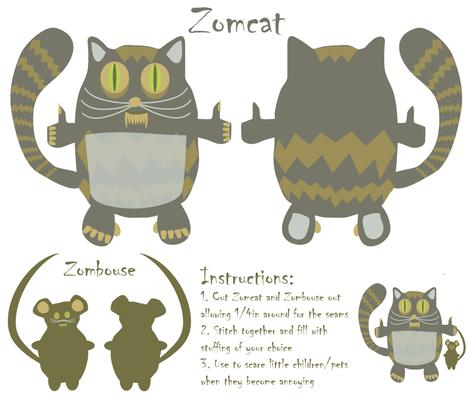 Zomcat fabric by kociara on Spoonflower - custom fabric