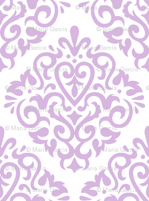 Lavender Damask on White