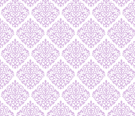Lavender Damask on White  fabric by mariafaithgarcia on Spoonflower - custom fabric