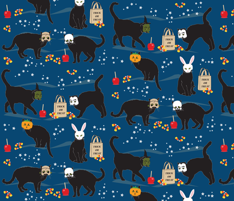 Black cats in masks fabric by horn&ivory on Spoonflower - custom fabric