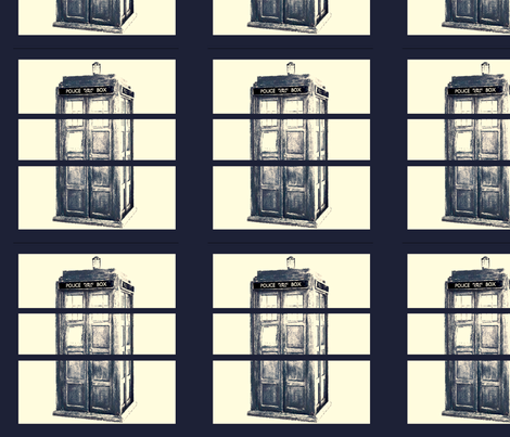 Blue Science Fiction Police Box  fabric by featheralchemist on Spoonflower - custom fabric
