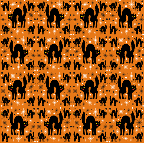 Retro Style Black  Cats with Starbursts & Orange Background fabric by 3catsgraphics on Spoonflower - custom fabric