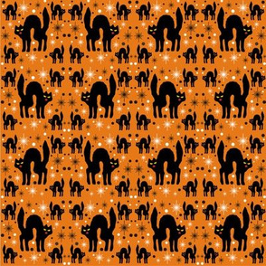 Retro Style Black  Cats with Starbursts & Orange Background