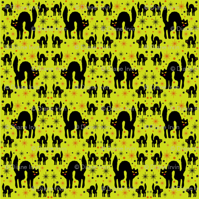 Retro Style Black Cats with Starbursts & Lime Background
