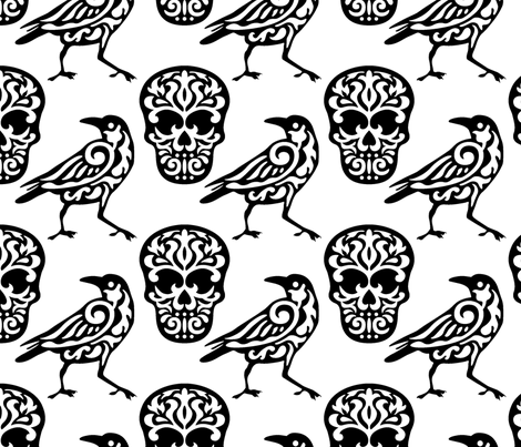 Skull Raven Damask fabric by mariafaithgarcia on Spoonflower - custom fabric