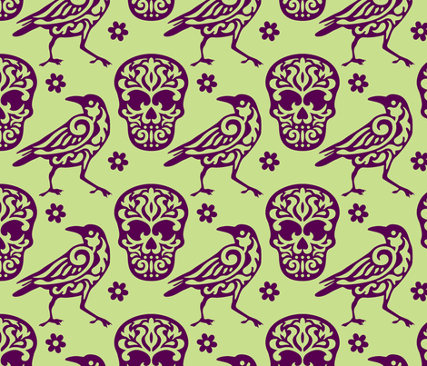Skull Raven Flower Damask green fabric by mariafaithgarcia on Spoonflower - custom fabric