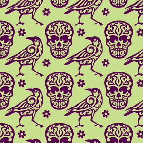Skull Raven Flower Damask green