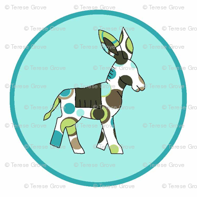 Animal Trails Donkey Decal Blue