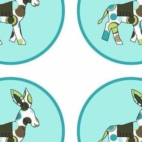 Animal Trails Donkey Decal Blue