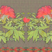Coral Peony with linen background and horiz ribbon
