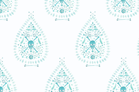 Large Paisley is Dead in Aqua fabric by danika_herrick on Spoonflower - custom fabric