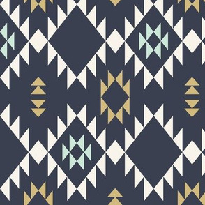 Navajo - Dark Blue  Mint Gold (vertical)