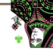 queen of clubs - pink green