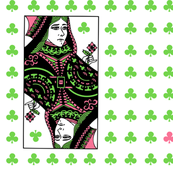 queen of clubs - pink green
