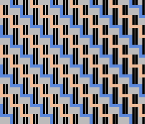 urban stairs - cobalt blue, almond, black, gray fabric by gingerme on Spoonflower - custom fabric